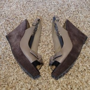 Boden Sandals Platform Wedge Bow Leather Suede